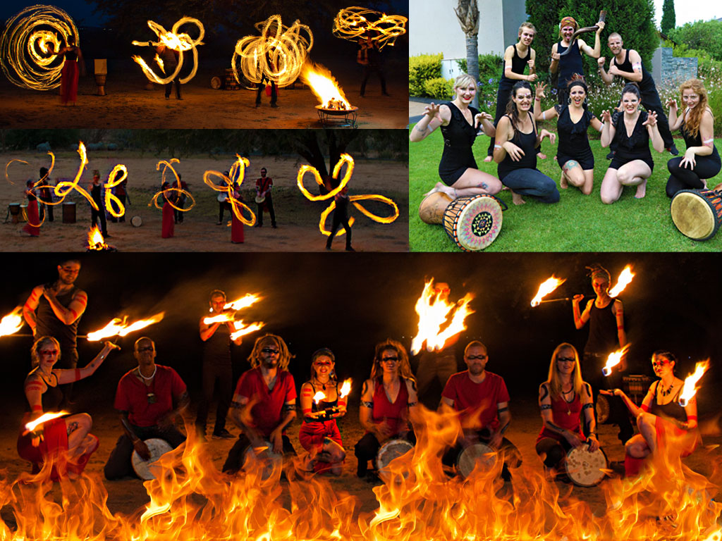 fire dancing and drumming show for upbeat corporate event shows
