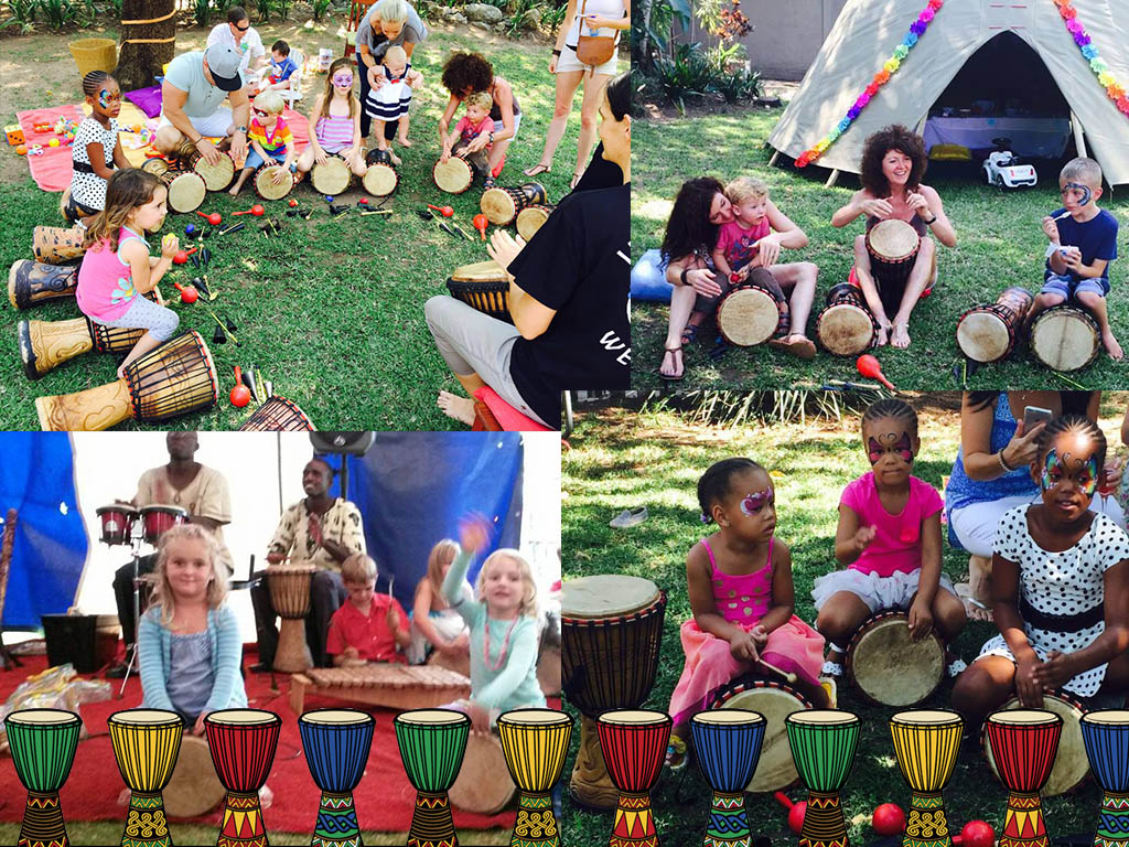 Interactive group drumming for kids birthday party ideas